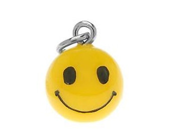 SMILEY FACE Charm. Hand Painted Plastic. 3D Yellow Ball.