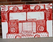 """modern fire truck art. 2'x3' total size. 2) 24""""x18"""" canvas set vertical. hand sketched original custom art. personalized. name license plate"""
