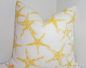 Yellow Starfish Pillow Cover Decorative Beach Starfish Pillow Cover All Sizes