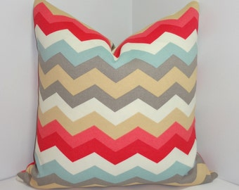 OUTDOOR Waverly Chevron Pillow Cover Blue Grey Citrine Ivory Zig Zag  Pillow Cover 18x18