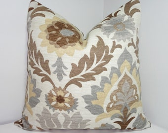 OUTDOOR Pillow Cover Waverly Santa Maria Floral Brown Tan Grey Indoor/Outdoor Pillow Cover 18x18