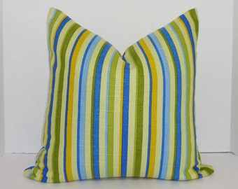 INVENTORY REDUCTION Decorative Stripe Pillow Cover Blue Green Stripe Throw Pillow Cover 18x18