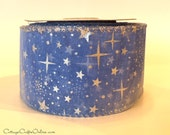 "Christmas Wired Ribbon, 2 1/2"" Ice Blue Sheer Silver Stars Snowflakes Metallic, TEN YARD ROLL, Reliant ""Winter Night Ice"" Wire Edged Ribbon"