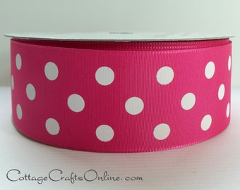 "Polka Dot Ribbon, 1 1/2"" Fuchsia Pink with White Polka Dots, THREE 1/2 YARDS, Offray ""Eloise"", NON Wired, Spring, Summer, Craft Ribbon #331"