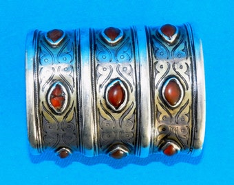 Antique Turkmen Turkoman Tekke Gilded Silver and Carnelian Tribal Cuff  236 grams = 8.32 ounces UNBEATEN PATH