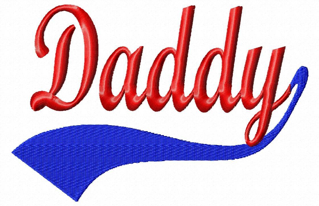 Baseball Swoosh Daddy Machine Embroidery Design By