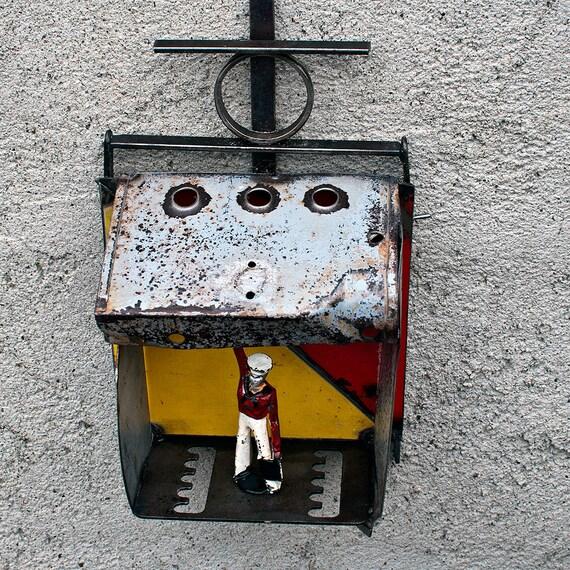 Metal Shadow Box Sculpture - US Navy Signalman - Flag - Nautical - Manoil Lead Toy