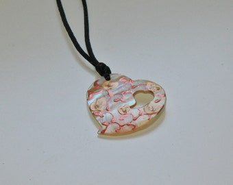 Hand painted mother of pearl heart pendant