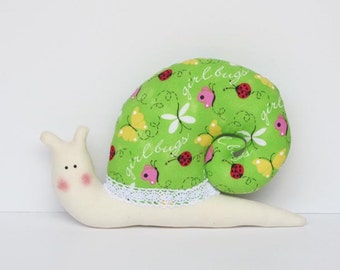 Stuffed snail softie toy - plush snail bright green yellow pink handmade soft toy for children boy and girl nursery decor baby shower gift