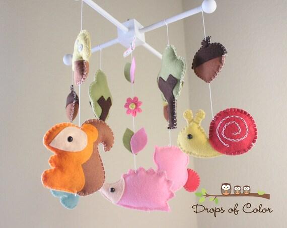 Baby Crib Mobile - Baby Mobile - Nursery Decor Crib Mobile - Handmade Felt Wood Forest Animals - Kids Room Playroom Decor (pick your colors)