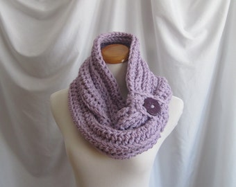 Cowl Chunky Bulky Button Crochet Cowl:  Purple Lilac with Purple Button