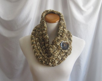 Cowl Button Chunky Bulky Crochet Cowl:  Brown, Beige, Camel Tan with Button - Wool Blend
