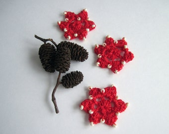 3 Crochet Beaded Flowers Mini - Red with Creamy Winter White Glass Beads - Set of 3