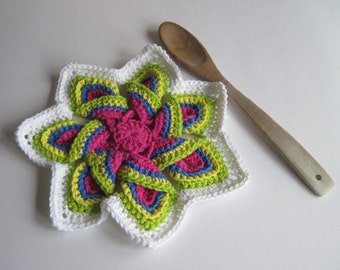 Crochet Flower Trivet Hot Pad - Bright, Pink, Blue, Green and Yellow with White