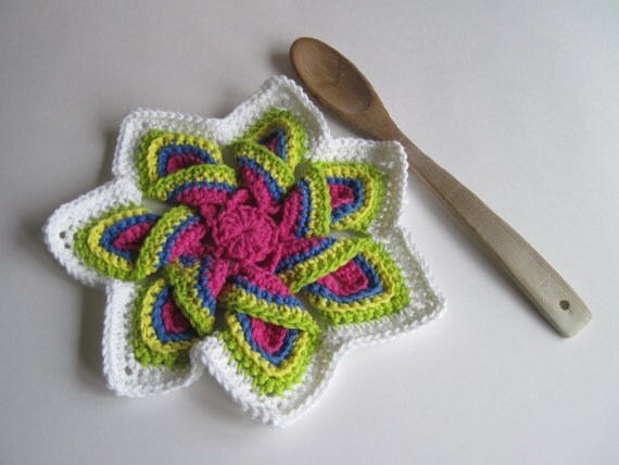 Crochet Flower Trivet Hot Pad Bright Pink Blue Green and
