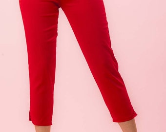 Side Zip Capri Pants Red Twill Retro / Rockabilly / Vintage 50s Pinup Clothing