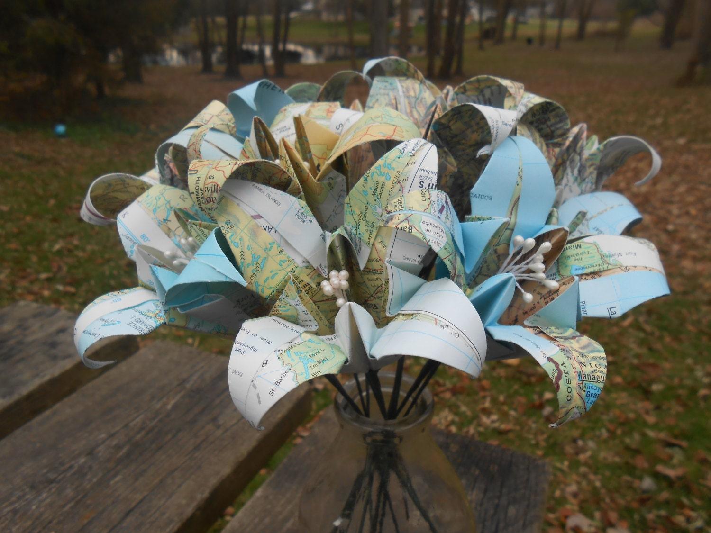 Vintage map paper lily bouquet bridal wedding anniversary for Bouquet de lys