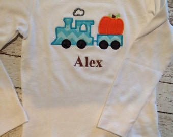 Boy Fall Shirt  - Halloween - Thanksgiving - Pumpkin Train - Infant or Toddler - Personalized