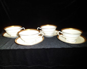 Art Deco Mintons China of England H3618 Four Footed Cups and Saucers T. Goode and Co. London