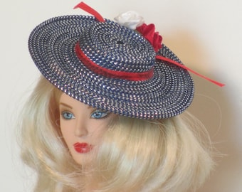 Blue picture hat for fashion dolls Barbie, Gene, Ellowyne