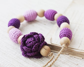 Purple nursing necklace with flower Baby shower gift for mom Chunky Crochet wooden beaded jewelry Spring Summer Floral Breastfeeding