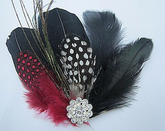 Black & Red White Guinea Feather Hair Clip or Brooch Pin -- CARMEN -- Bridesmaids Wedding Fascinator
