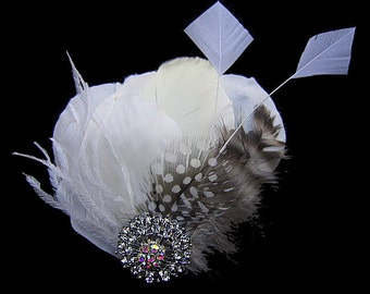 Light Ivory Feather Hair Clip or Brooch Pin -- Louisa -- Bridesmaids Wedding Fascinator