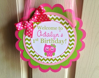 Owl Birthday Party Personalized Welcome Door Sign - Pink and Green - Owl Party Decorations - Owl Door Hanger - Owl Party Supplies