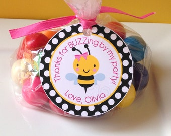 12 Bumble Bee Birthday Party Favor Tags in Black, Yellow and Pink