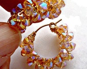 "Earrings ""Spring Bling"" Swarovski crystals on gold filled hoops with latch back closure"