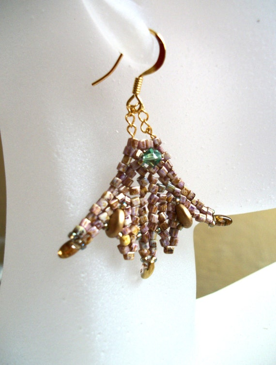 Beadwoven Earrings - Celtic Princess Fan - Gold, Green & Bronze tones