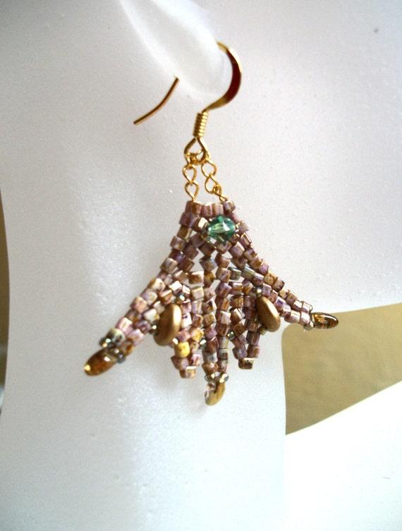 Beadwoven Earrings - Celtic Princess Fan - Gold, Green & Bronze tones