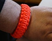 Hunter's Orange Men's Survival Paracord King Cobra Weave Bracelet With Curved Buckle - Custom Made To Your Wrist