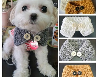 Crocheted Puppy / dog scarf Choose from 7 colors, Fits most XS ,S or M dogs