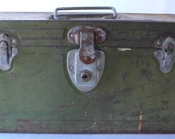 Vintage metal box rusty green Climax from Diz Has Neat Stuff