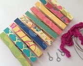 Kids Art Display Clothesline Kit. Indoor. BRIGHTS #3. 10 Clothespins Hanging Picture. Hanging. Clip. Pin. Peg. Home Office. Wall Decor.
