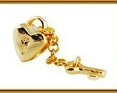 Stamped 925 - KeY to my HEART - Gold Lock with Key Chain - Charm Bead - fits European Bracelets - PSG-1101