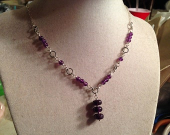 Amethyst Necklace - February Birthstone - Purple Jewelry - Sterling Silver - Gemstone Jewellery - Pendant - Chain