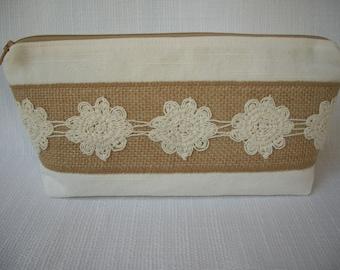 Textured Canvas Burlap Fabric Makeup Bag Wedding Bridesmaid  Enter Coupon Code SALE50 and Save 50%