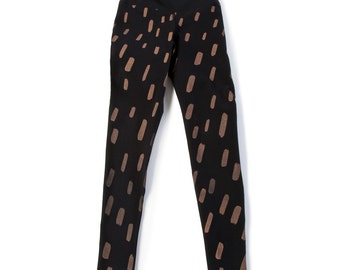 Falling Rain High Rise Leggings - Black with Apricot