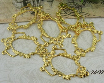 10% off - 100pcs Golden Plated Brass Filigree Charms,17x27mm