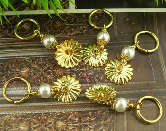 8 sets - Gold Plated Filigree Pendant Charms With 6mm Plastic Beads.12 X 32mm