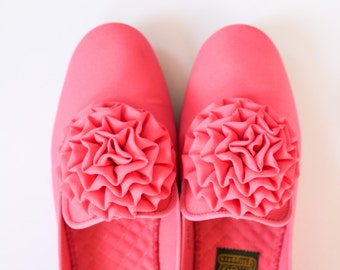 Bright Pink Daniel Green Slippers Excellent Vintage Condition with Pom Pom Flower Decoration Size