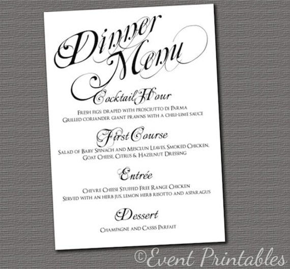 dinner party menu card template
