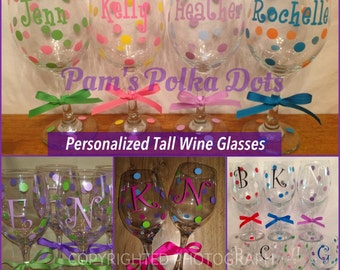 7 Personalized TALL WINE GLASSES Name Initial Polka Dots great for Birthdays Bride Bridesmaids Bachelorette Wedding Party or Anyone 20 oz.