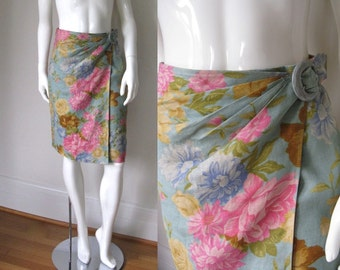 Vintage 1980s Ungaro Parallele Pastel Blue Multi-Color Floral Print Wrap Skirt