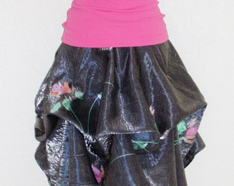 Delightful Hand Painted Flowers Dance Across Stunning Silvery Draped Skirt Circle Skirt Steampunk Skirt With Adjustable Ties