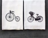 Couples Bicycle 2 Pack Kitchen Tea Towels - Vintage Bikes- Kitchen Flour Sack TeaTowel- Cotton Towel -Home Decor