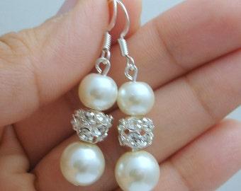 Ivory Pearl Drop Earrings, Cream Pearl and Rhinestone Earrings