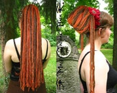 HENNA RED Chestnut brown DREADLOCKS Gypsy Boho Dread yarn hair Fall 24''/ 60 cm long Renfair Larp costume wig Steampunk extension Goth braid